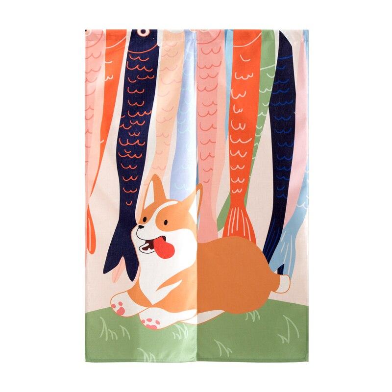 Animal de Algodão e Linho Cão dos Desenhos Corgi Animados Partição Cozinha Sala Estar Estilo Japonês Porta Cortina Portiere Pendurado Tela