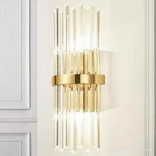 Lámpara de pared de cristal para decoración del hogar, candelabro de lujo americano moderno, Simple, para sala de estar, dormitorio y mesita de noche