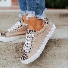 Women Sneakers Autumn Spring Casual Lace Up Breathable Flats Sport Shoes Fashion Canvas Shoes Leopar