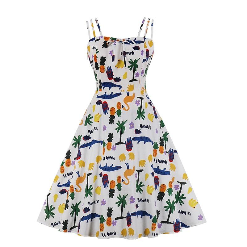 Verano dibujos animados drsses mujeres Spaghetti Strap Casual impreso Rockabilly lindo rodilla longitud vestido femenino de talla grande 4XL