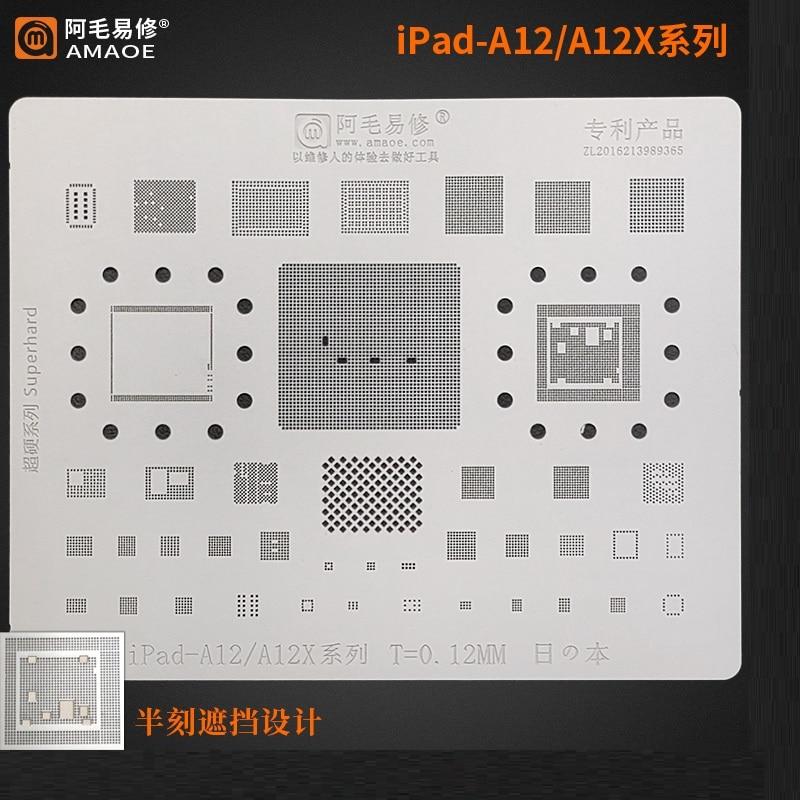 Amaoe BGA Reballing Stencil For iPad 8 A2270 A2428 CPU RAM Nand Power Audio IC Chip Tin Plant Net Square Hole Steel Mesh