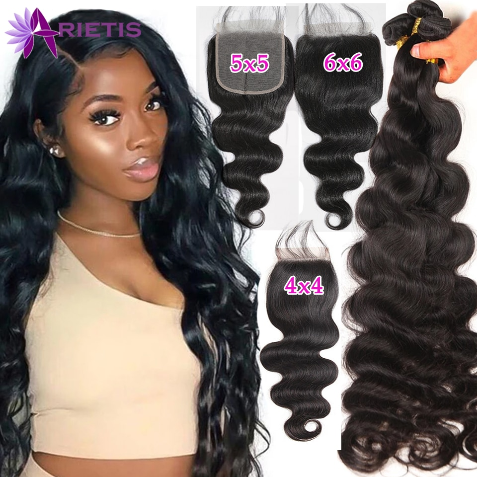 28 30 40 Inch Body Wave Bundles with Closure 4x4 5x5 6x6 HD Lace Closure Frontals 10A Remy Hair Bundles With Frontal And Closure