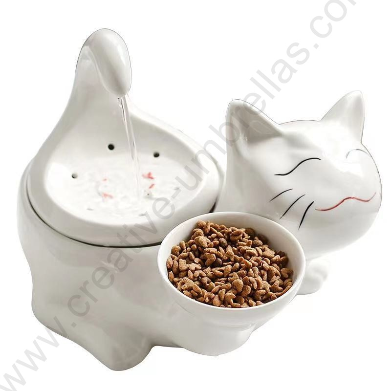 Auto fortune cat ceramic dolomite hygiene anti scratch water dispenser foodfeeder for drinking and eating house humidifier