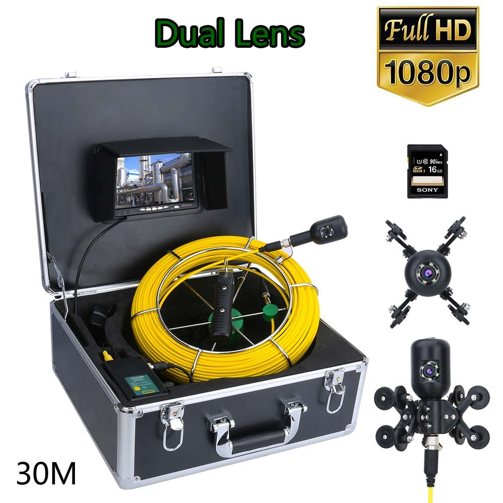 GAMWATER 7inch DVR Drain Sewer Pipeline Industrial Endoscope Pipe Inspection Video Camera 30M 1080P HD Dual Lens  Camera