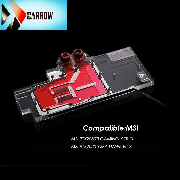 Barrow GPU, bloque de refrigeración por agua para MSI RTX2080T GAMING X TRIO, Enfriador de tarjeta gráfica, cubierta completa, Enfriador de MSG2080TM-PA con luz rbw