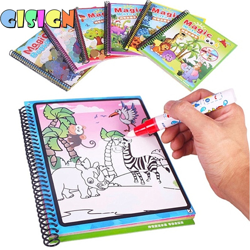 1PCS Magic Water Drawing Book Montessori Coloring Doodle & Pen Painting Board For Kids Toys  Birthday Gift