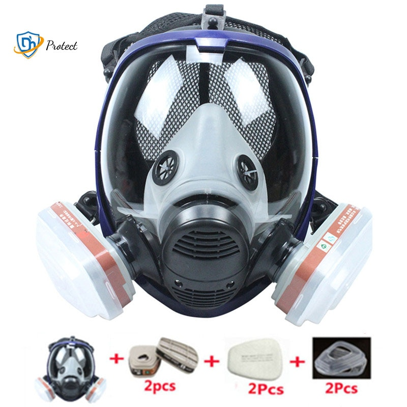 Chemical Mask 6800 7 in 1 Gas Mask Dustproof Respirator Paint Pesticide Spray Silicone Full Face Fil