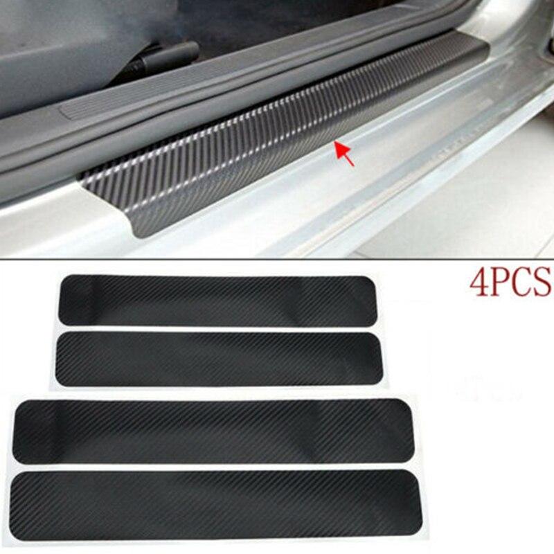 Seuil de porte de voiture 60/40x6.7cm 4 pièces   Autocollants anti-rayures en Fiber de carbone, accessoires de voiture style