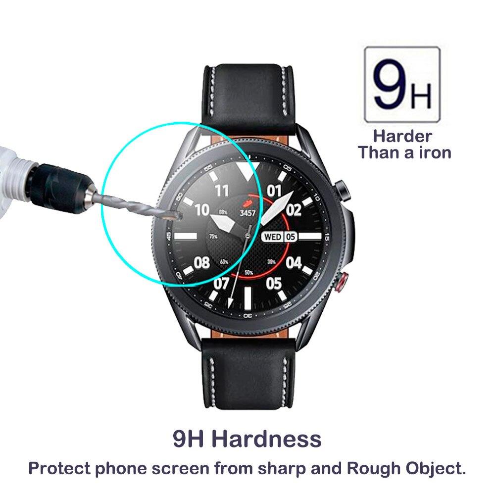 Película transparente Protector de pantalla de vidrio templado para Samsung Galaxy Watch 3 45mm 41mm correa de reloj inteligente accesorios cubierta
