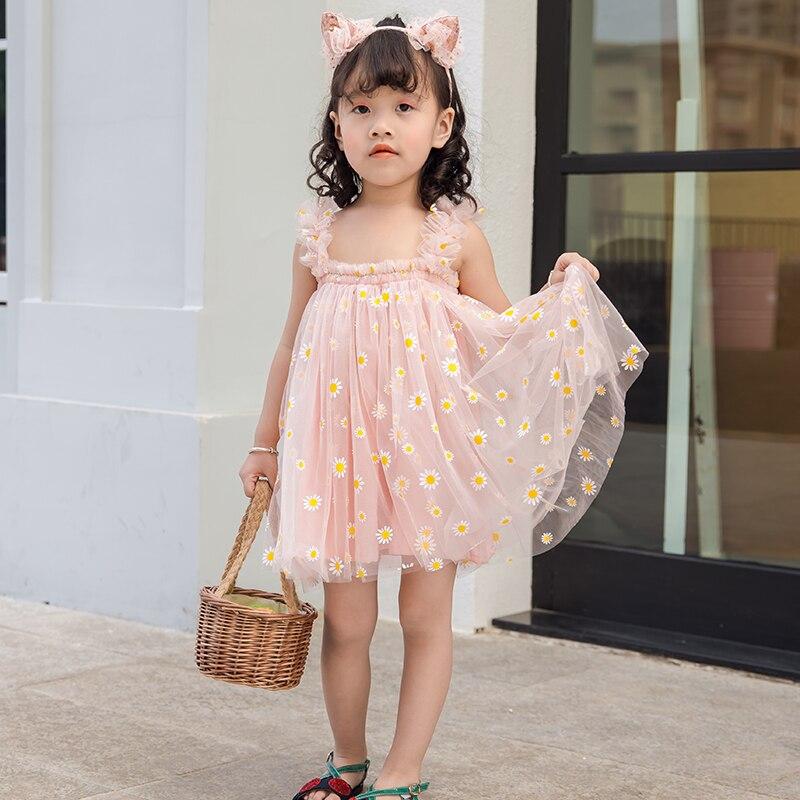 2020 Little Dress For Girls Summer Sleeveless Princess Baby Girl Dresses Lace Mesh Kids Toddler Infant Dress Casual Clothing