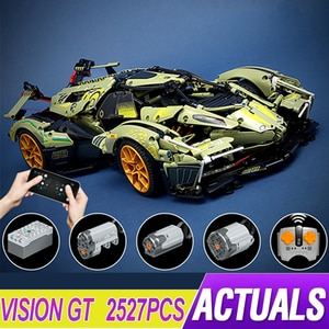 2021 MOC Lambo V12 Vision GT Super Sports Car Model Building Block Bricks Educational Puzzle Toy Birthday Gifts For Child