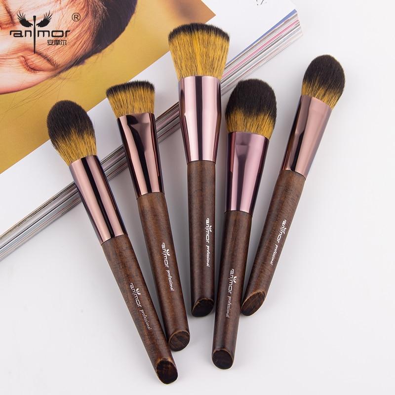 1 Uds. Pinceles de maquillaje anlor base de polvo profesional Pincel de maquillaje colorete pelo sintético suave limpiador contorno pinza