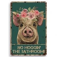 Citation drole de salle de bain en metal  signe en etain  decor mural Vintage Hello Sweet Cheeks Pig  signe en etain pour bureau maison salle de classe