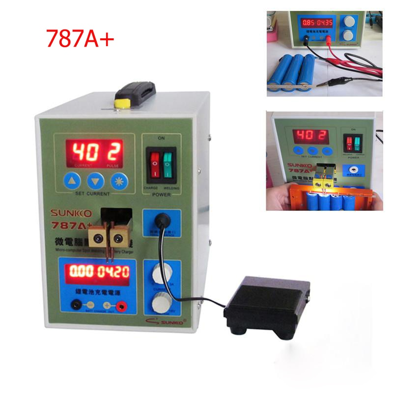 SUNKKO 787A+ Spot Welder 18650 Lithium Battery Test Charging 2in1 Double Pulse Precision Welding Machine LED Lighting 220V enlarge