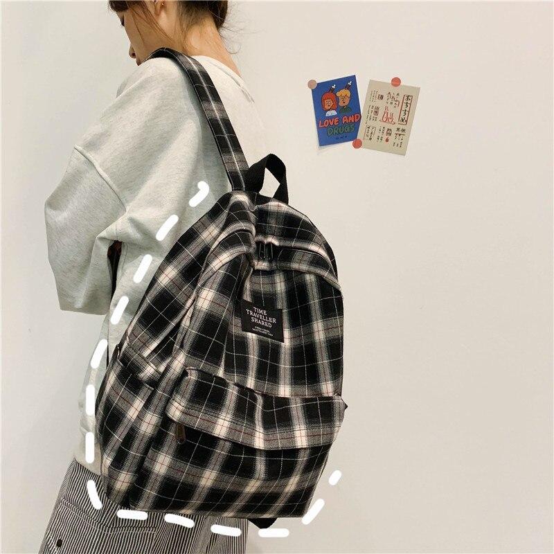 Bolsa de Escola Estudantes Mochila Feminina Padrão Xadrez Lona Softback Campus Estilo Viagem Bagpack Feminino Mochilas Senhoras