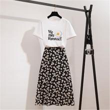 CBAFU fashion flowers print skirt suit summer 2 piece set white letter Tshirt a-line floral big swing long skirt ladies set F204