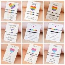 2PCS/Set Love Is Love Rainbow Wish Bacelet Handmade Bead Couple Friendship Bracelet Boho Jewelry Bra