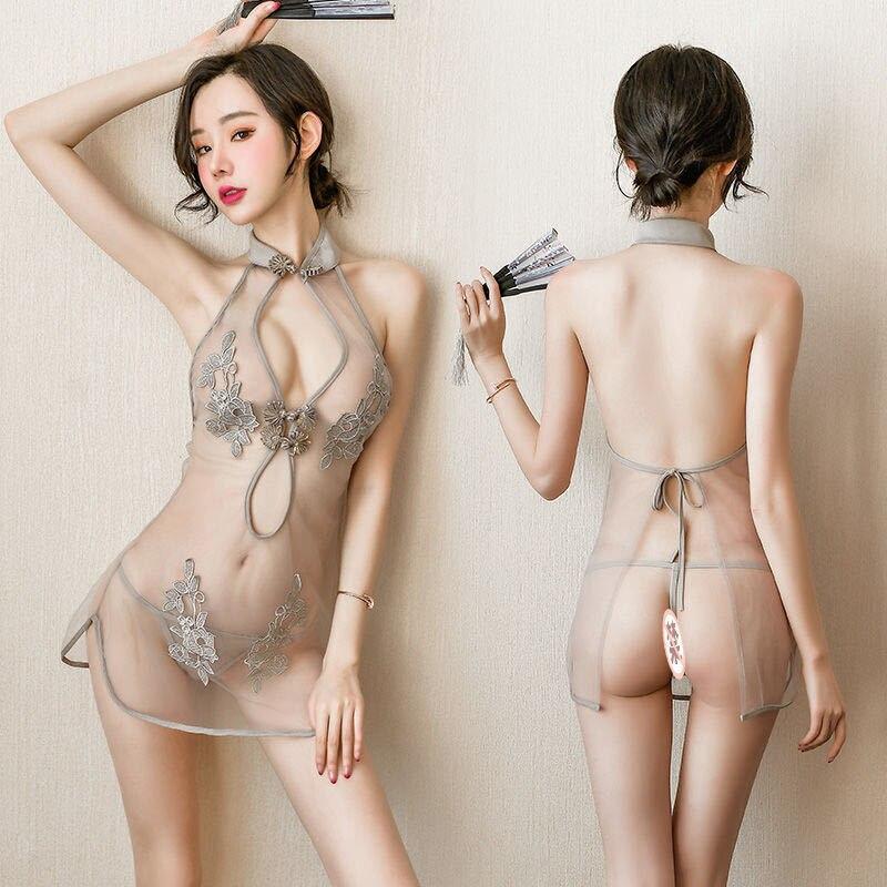 Ropa interior Sexy para mujer, camisón íntimo, productos sexuales, uniforme con abertura, traje cheongsam bordado con perspectiva de encaje