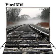 Vinilo naturaleza paisaje niños Fondo tren ferroviario ladrillo fotografía telón de fondo Bosque Negro telón de fondo para estudio fotográfico