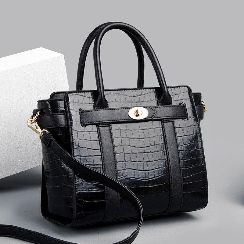 Ansloth Hand Bags Women 2021 Luxury Designer Large Capacity Soft Leather Crocodile Pattern Shoulder Bags Ladies Simple Totes Bag