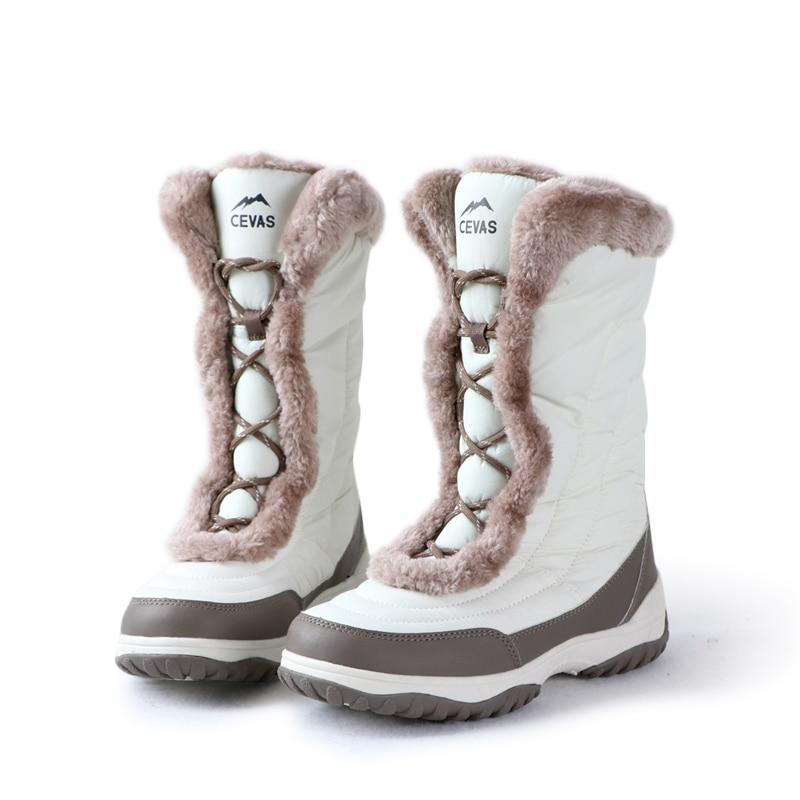 Для женщин зимой на открытом воздухе Пеший Туризм сапоги женские водонепроницаемые 3M thinsulate шерстяной подкладкой зимние сапоги Для женщин нескользящей подошвой; зимние туфли for-40c