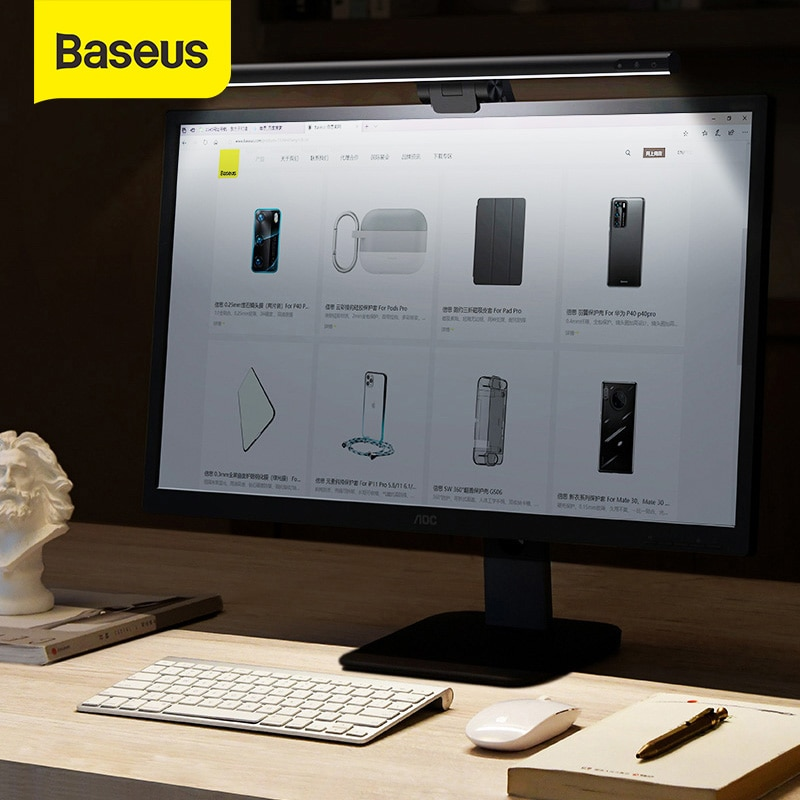 Baseus Stepless Dimming Eye-Care LED Desk Lamp For Computer PC Monitor Screen Hanging Light LED Read