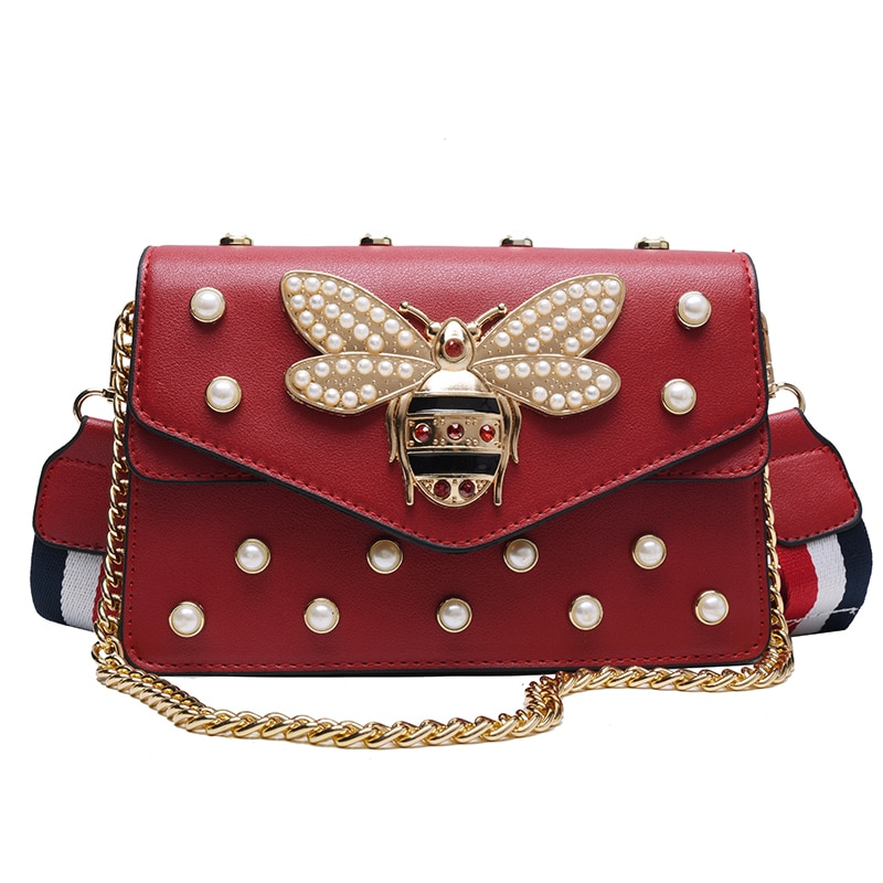 Women Shoulder Bag 2019 Brands Designer Chain Strap Flap Ladies Leather Handbags Messenger Bag Women Clutch Bag Bee Buckle Purse