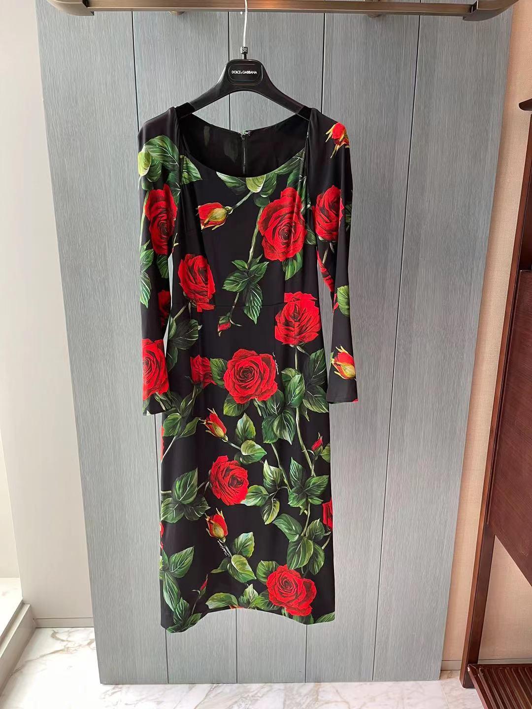 2021 جديد الخريف/الشتاء الكلاسيكية ارتفع طباعة فستان حريري جودة عالية صقلية الفاخرة