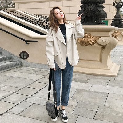 Women's fur coat spring autumn 2020 new short Korean version looks thin and loose stay style student PU leather enlarge