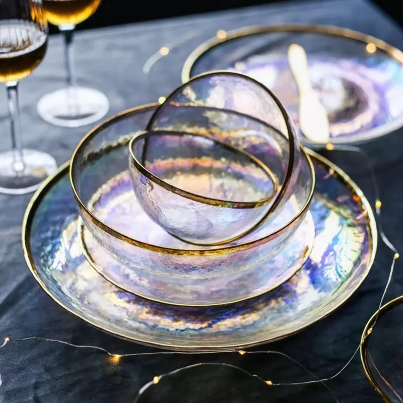 Luxury Rainbow Glass Salad Bowl Fruit Rice Soup Serving Bowls  Tableware Dinnerware  Kitchen Glassware Food Storage Cake Dish