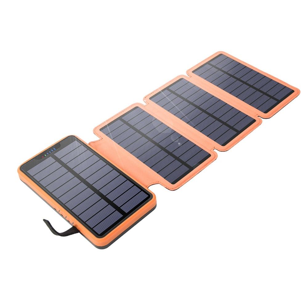 باور بانك 10000 مللي أمبير ، 20000 مللي أمبير ، 4 ألواح شمسية ، شحن سريع لهاتف iPhone 11 Pro ، Xiaomi ، مقاوم للماء ، مع مصباح يدوي