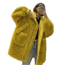 Femmes 2020 automne hiver Vintage col rabattu Faux laine dagneau manteau de fourrure femme épais chaud veste nouveau veste décontractée ample N171