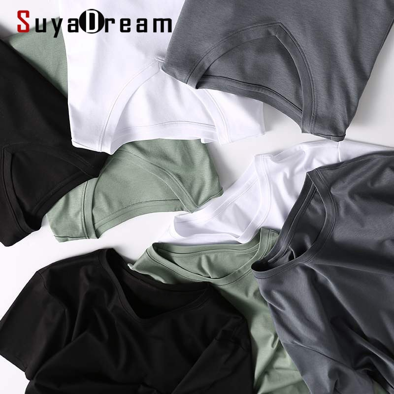SuyaDream Mens Solid T shirts Cotton and Silk mix Plain O neck Short Sleeved Shirts 2021 Summer Basic Top navy basic knit round neck t shirts
