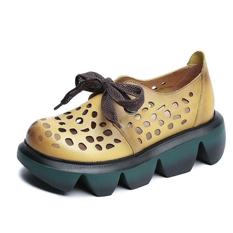 YourSeason جلد طبيعي السيدات الرجعية جوفاء الصيف الأحذية الدانتيل متابعة موجزة اليدوية المرأة منصة أسافين الصنادل 2021