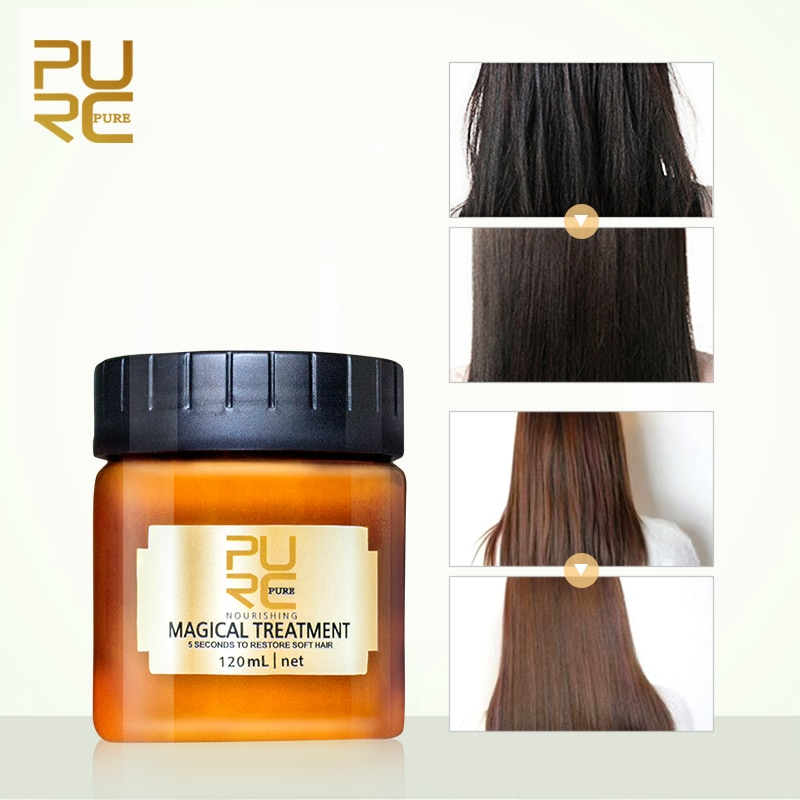 Mascarilla de infusión para el cabello con tratamiento mágico profesional PURC, mascarilla de infusión para 5 segundos