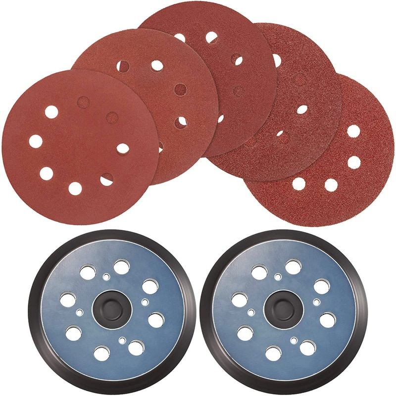 5 дюймов восемь отверстий и четыре глаза синие диски наждачная бумага красная задняя бархатная самоклеящаяся Полировочная бумага для диско...