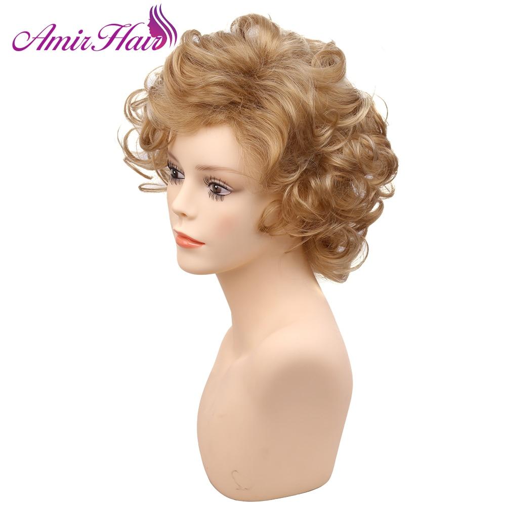 أمير-شعر مستعار صناعي مجعد للنساء ، شعر طبيعي ، أشقر مظلل ، بني ، ألياف مقاومة للحرارة ، تأثيري