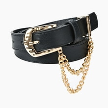 2021 hot style Creative Single Pin Buckle Inlaid Chain Ladies Belts Fashion Jeans Decorative Belts