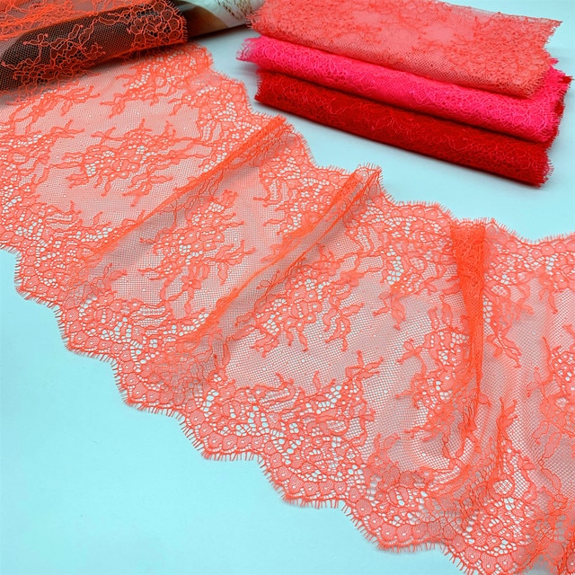 3meter/lot width 22.50cm Non Elastic lace fabric embroidery summer peach lingerie lace trimming garment accessory DIY material