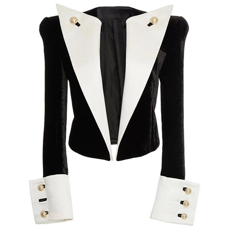 High street 2019 mais novo designer elegante jaqueta feminina leão botões cor bloco retalhos veludo curto blazer