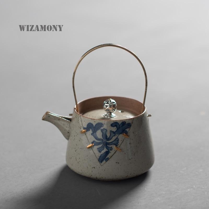 Juego de té antiguo japonés WIZAMONY Celadon Zisha cerámica azul y blanco olla de té de China porcelana yixing arcilla tetera antigua