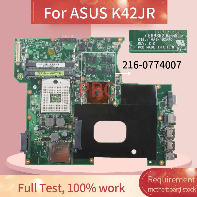 Para ASUS K42JR placa madre del cuaderno REV 2,0 HM55 216-0774007 DDR3 placa base de computadora portátil