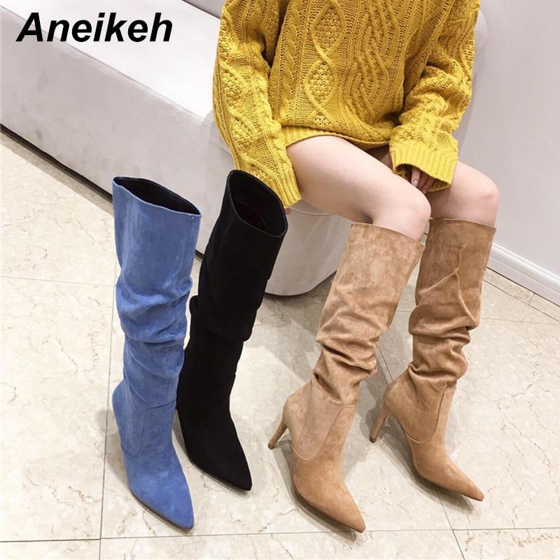 Aneikeh ربيع 2021 قطيع النساء أحذية منتصف العجل تشيلسي الأحذية الانزلاق على الحلو الخياطة الصلبة أشار تو الخنجر الكعوب حجم 35-41