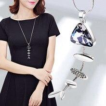 Collar con colgante de pez ELIfashion con forma de esqueleto de pez de diamantes de imitación cadena larga estilo coreano encantador para mujeres 2 colores disponibles