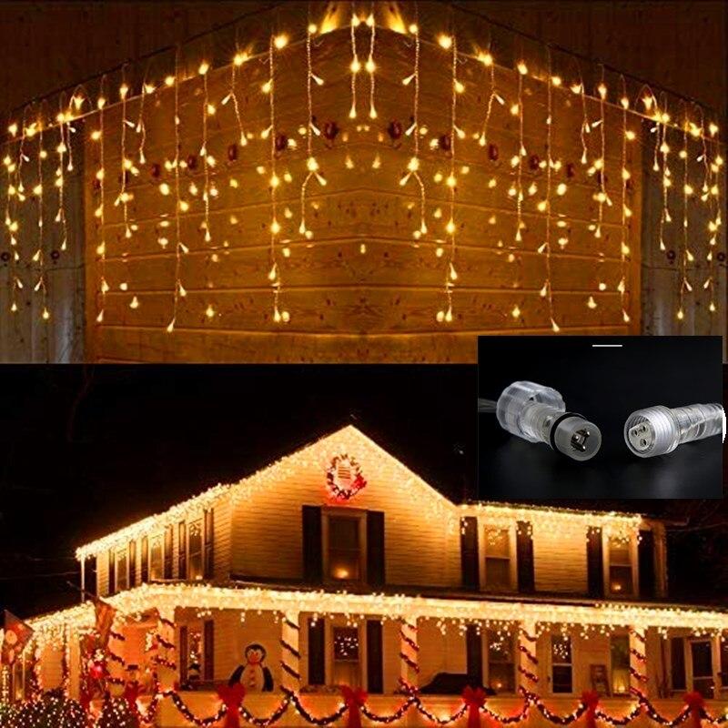 Guirnalda navideña para exteriores, luces impermeables de 4/12/16M, carámbanos, decoración para patio,...