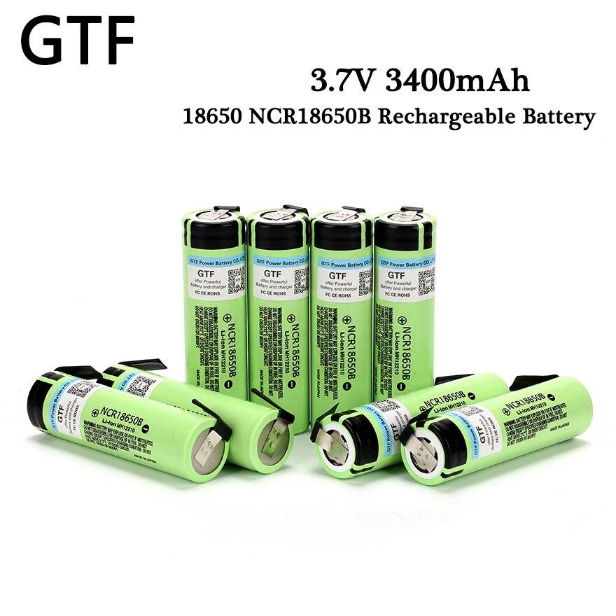 Batería de litio recargable GTF 100% Original 18650 NCR18650B 3,7 V 3400mAh para batería Panasonic + baterías de iones de litio de níquel DIY