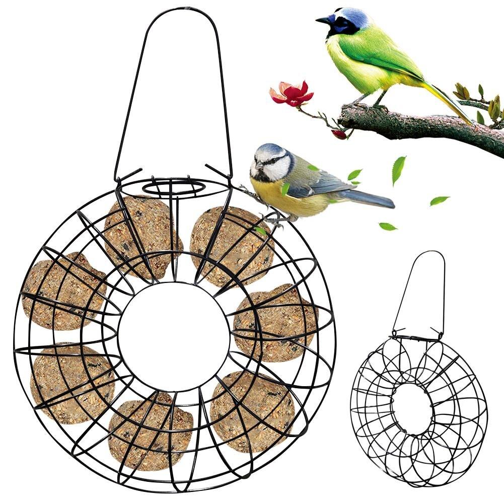 Alimentador de aves a prueba de viento a prueba de lluvia bola gorda soporte negro redondo Metal estilo colgante alimentador de aves anillo de comida grande