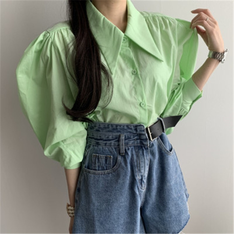 2020 New Arrivals Frensh Stylish Temperament Blouse Shirt Korean Chic French Green Turn-down Collar Puff Long -sleeved Blusas