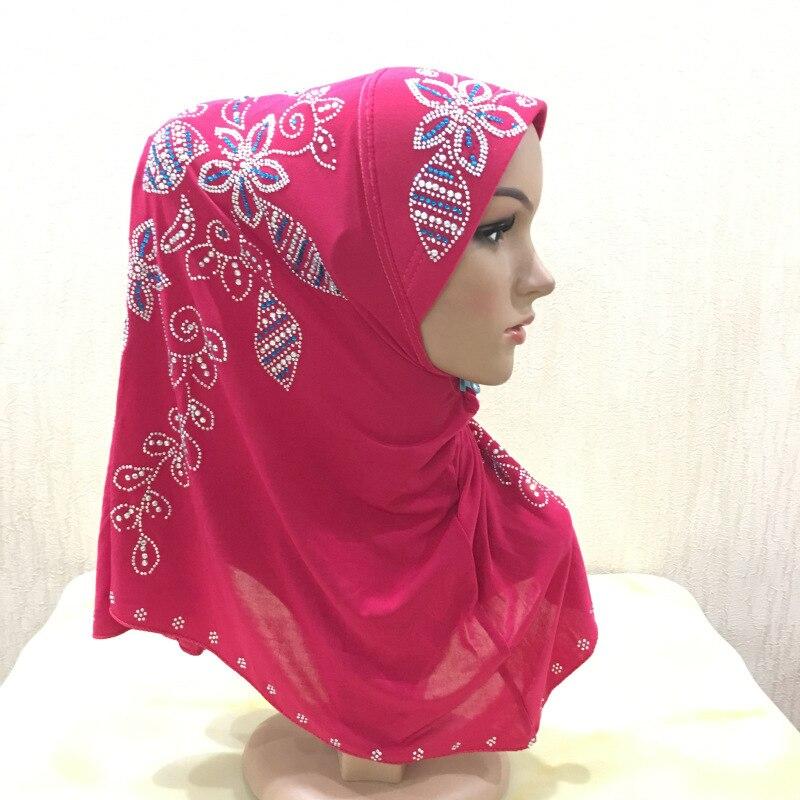 Diamante Pavo Real brillante hiyab de Malasia 1 pieza Amira hiyab instantáneo listo para usar cabeza envoltura musulmana pañuelo para la cabeza