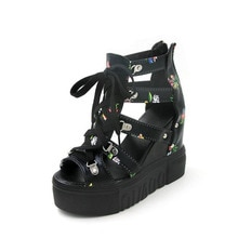2020 summer new high rise inside sandals thick bottom slope heel super high heel 11cm flower fish mouth women's shoes trend